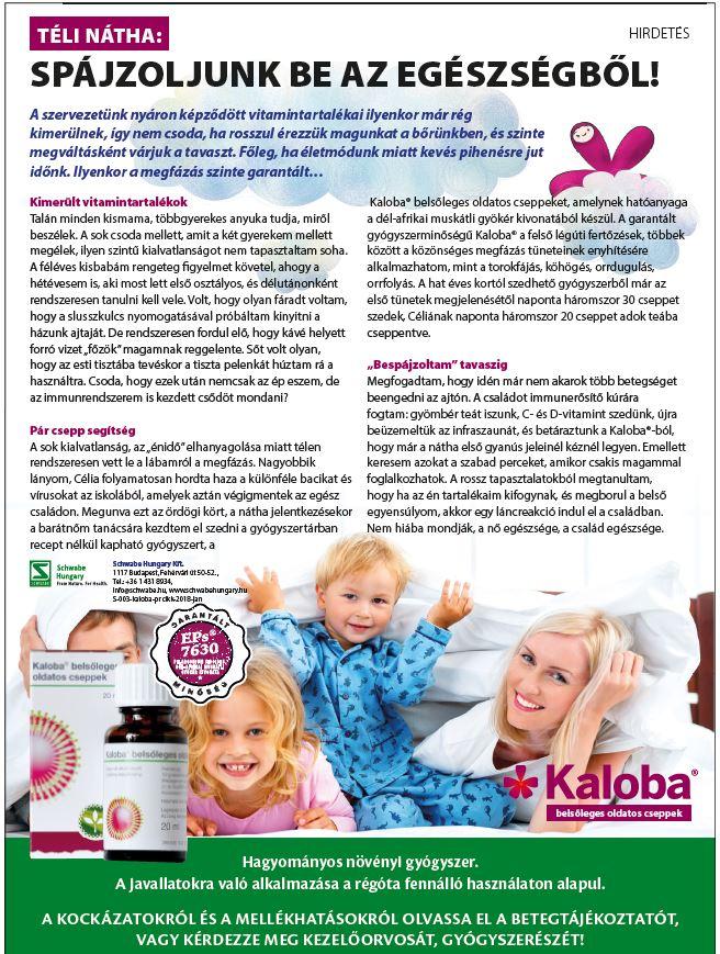 Kaloba PR cikk a Nők Lapjában